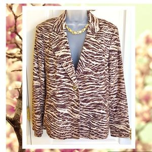 Brown Ellen Tracy Jacket Cotton & Silk Blazer